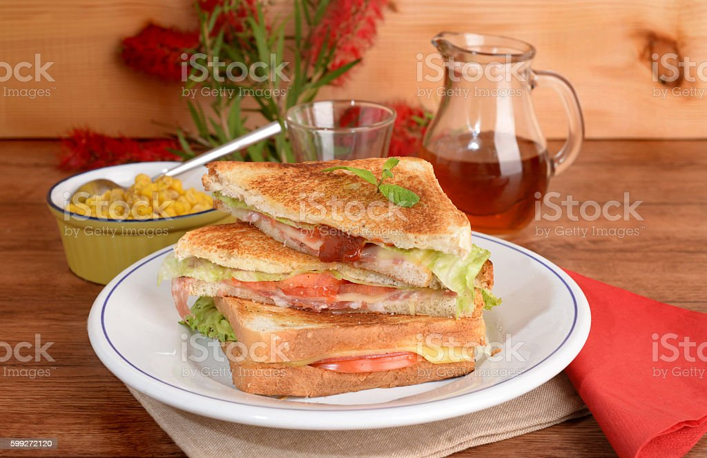 White bread with salami and cheese stock photo