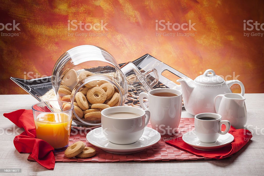 White breakfast dishware royalty-free stock photo