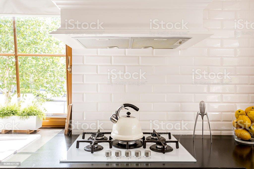 White brick backsplash idea stock photo