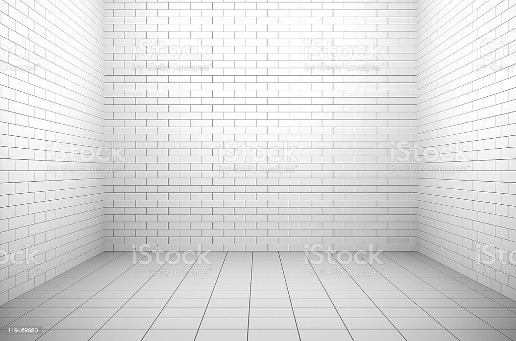 A white brick room with white tiles on the floor stock photo