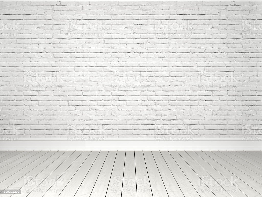 White brick wall and Parquet Floor stock photo