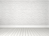 White brick wall and Parquet Floor