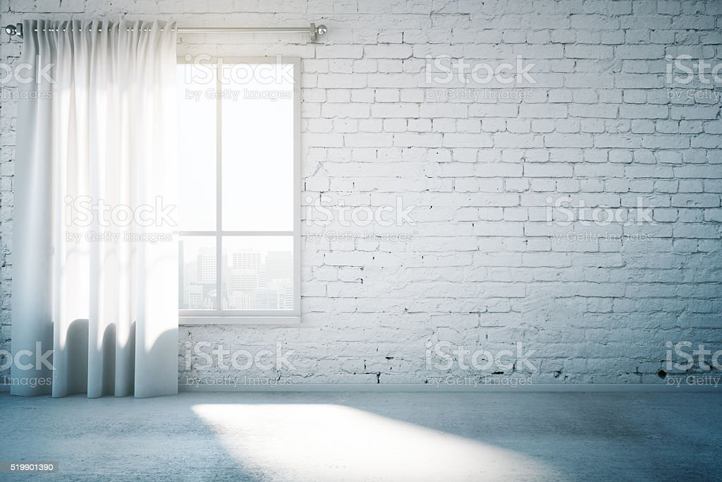 White brick wall and window stock photo
