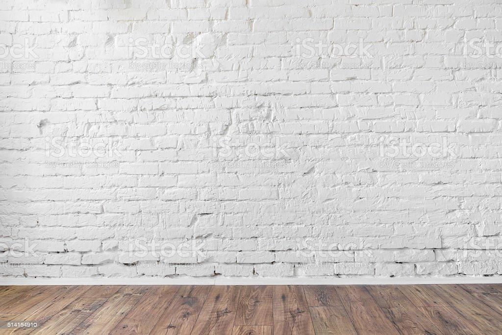 White Brick Wall Background Texture Wooden Floor Stock