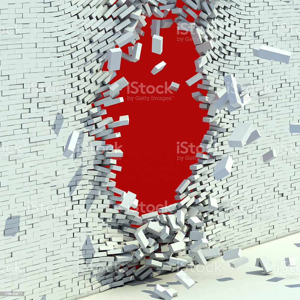 White brick wall broken by supernatural power stock photo
