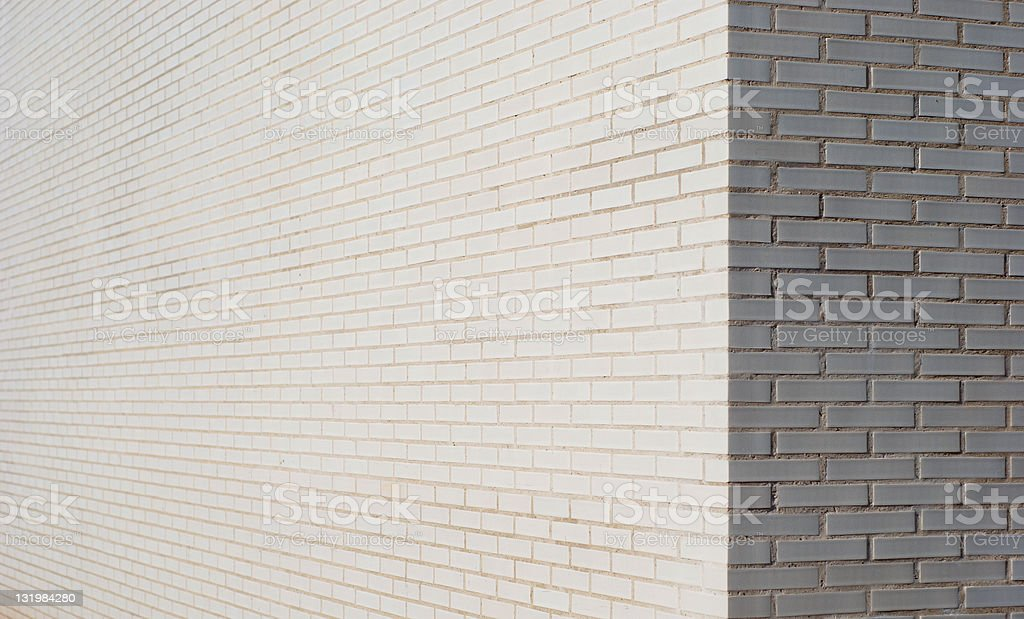 White brick wall corner stock photo