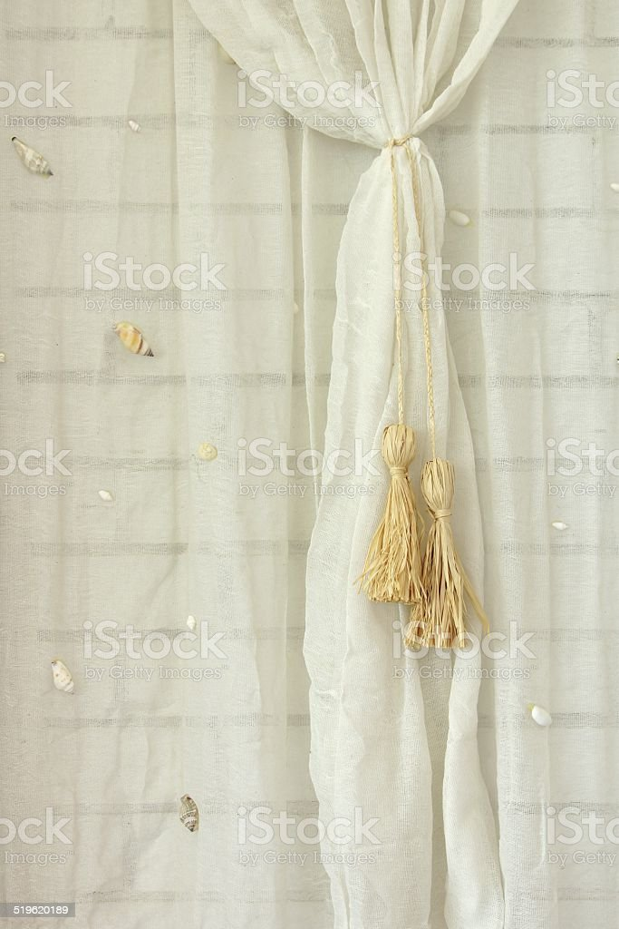White Brick Wall Decorated With  Net Curtain stock photo