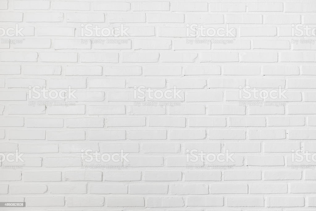 White brick wall for background or texture stock photo