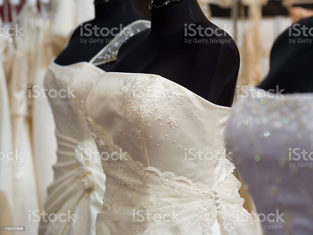 white bride costumes on shop mannequins royalty-free stock photo