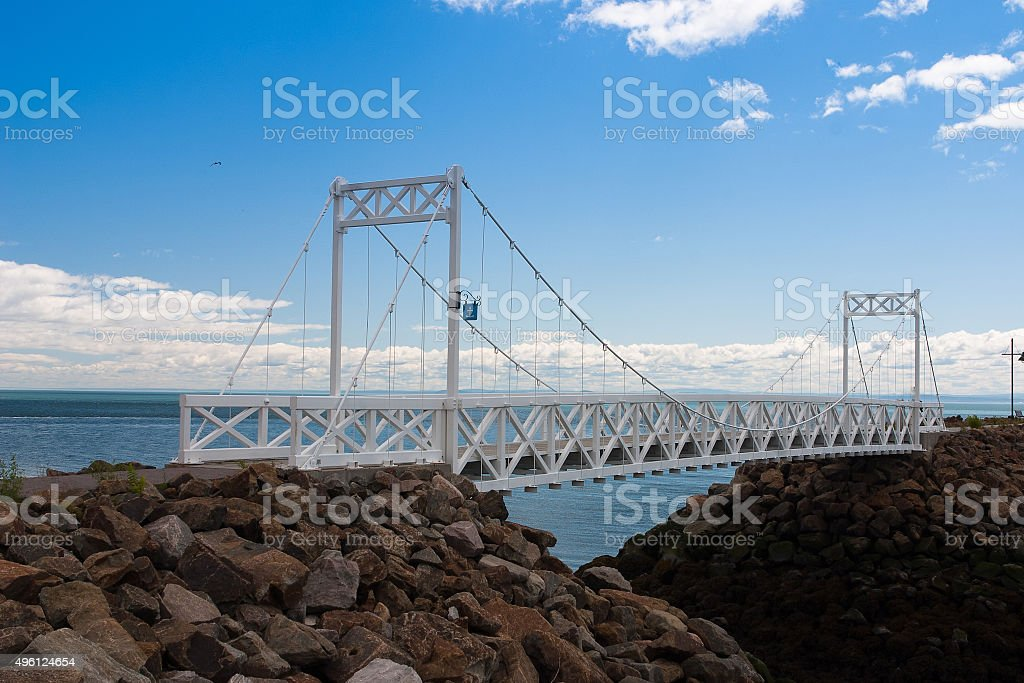 White bridge on the St.Lawrence river, Canada stock photo