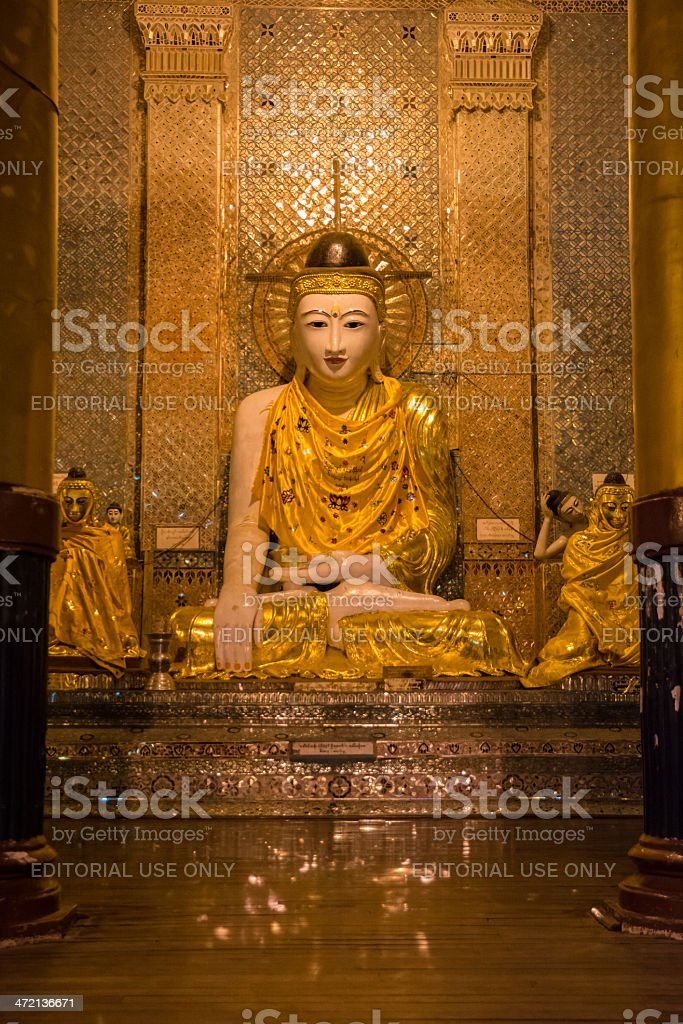 White Buddha in Shwe Dagon Compound royalty-free stock photo