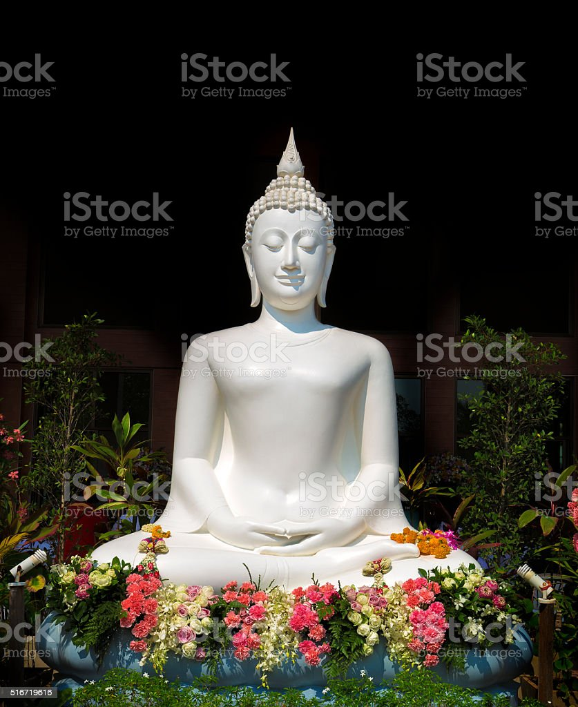 White buddha stock photo