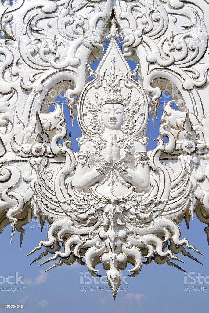 White buddha statue,Wat Rong Khun,Chiang Rai,Thailand. stock photo