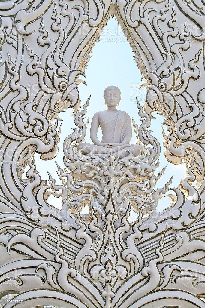 White buddha statue,Wat Rong Khun,Chiang Rai,Thailand. royalty-free stock photo