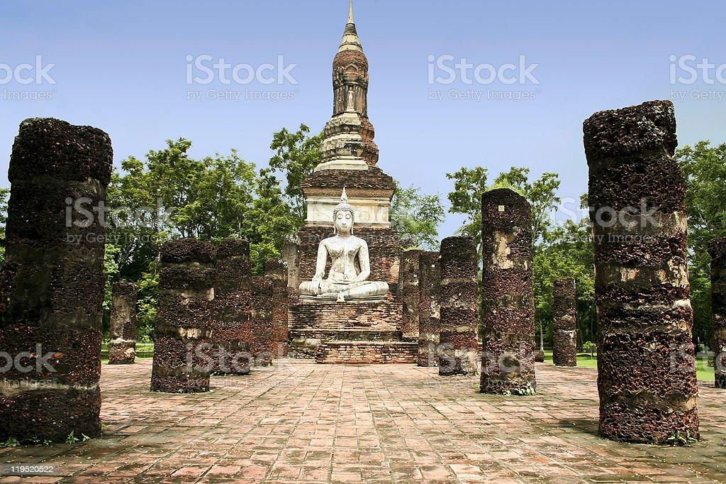 white buddha sukhothai thailand royalty-free stock photo