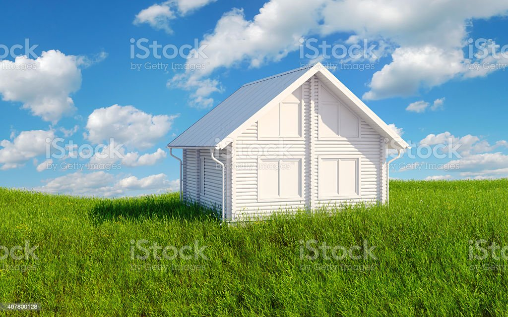 White building render on the green grass royalty-free stock photo