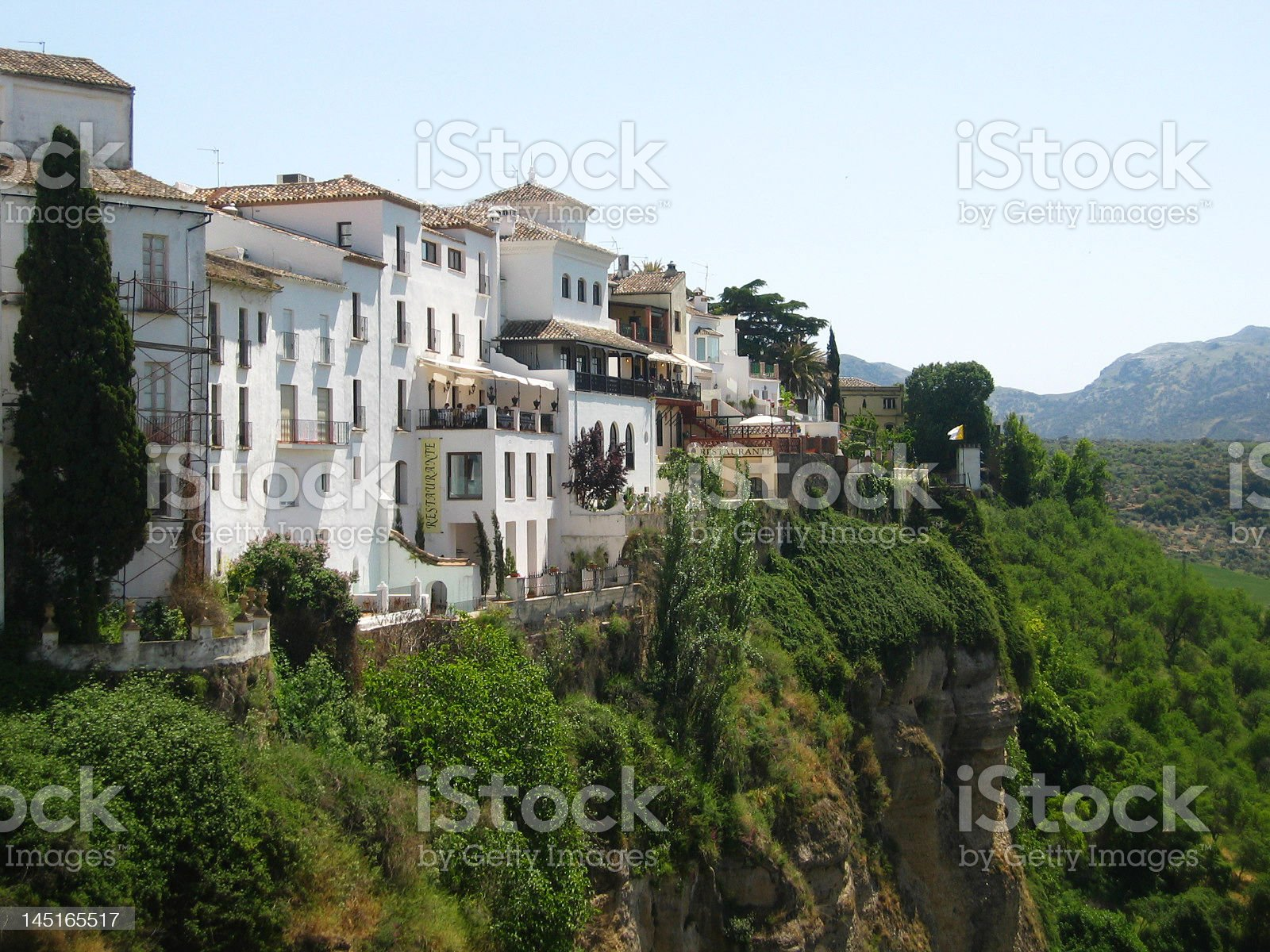 White buildings on a cliff in Ronda, Spain royalty-free stock photo