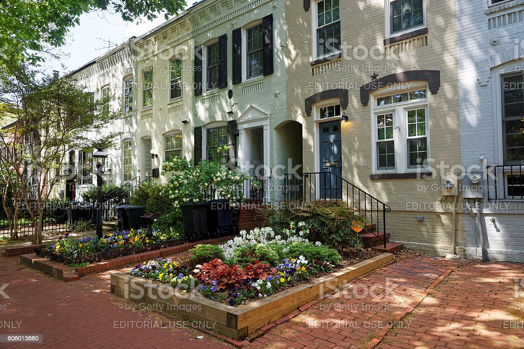 White buildings on streets of Georgetown in Washington DC stock photo