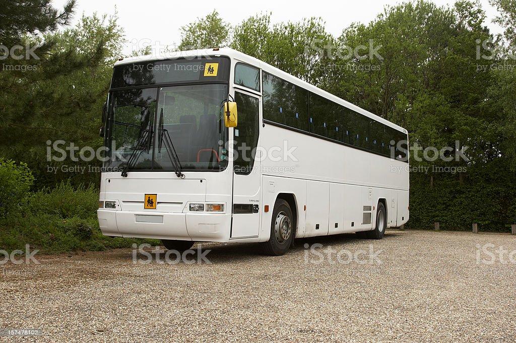 White bus coach parked stock photo