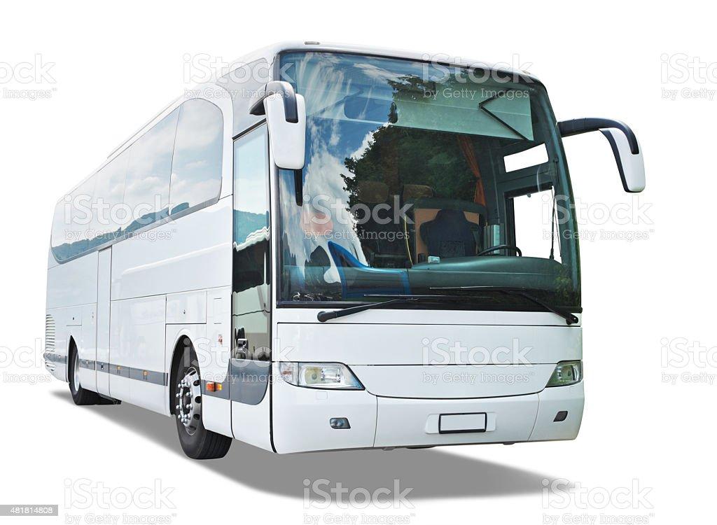White Bus Isolated stock photo