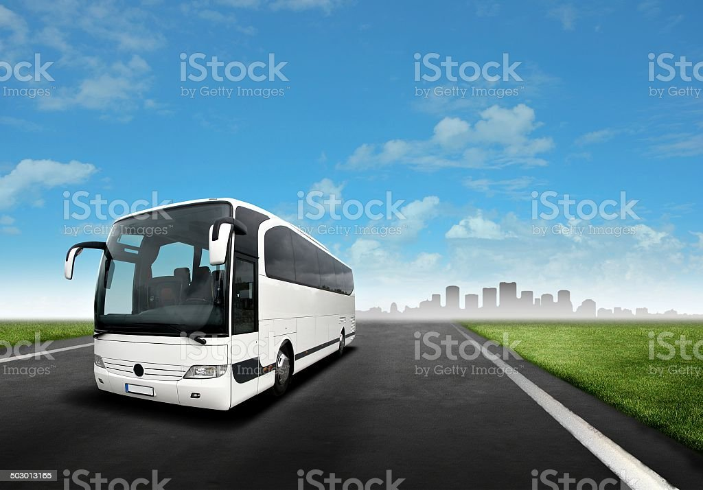 White Bus on the Road stock photo
