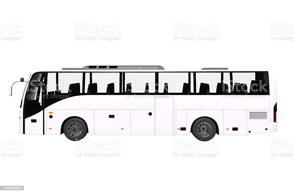 White Bus Side View Isolated stock photo