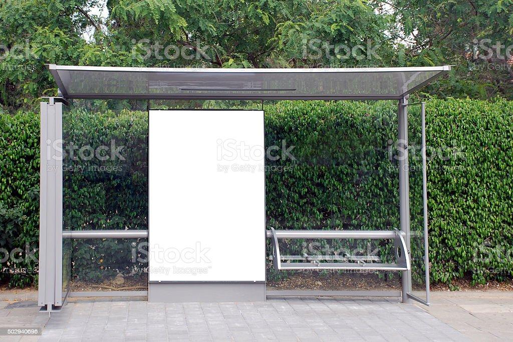 White Bus stop Sign stock photo