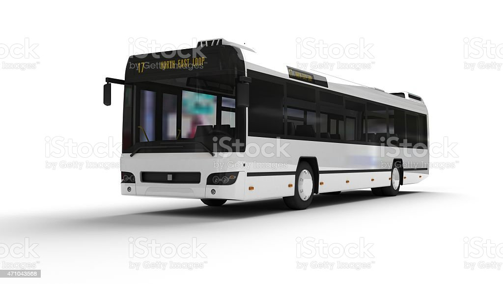 A white bus with the final destination to North East Loop stock photo