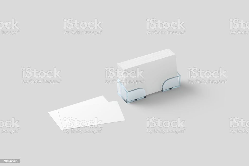 White business card mockup in acrylic holder isolated stock photo