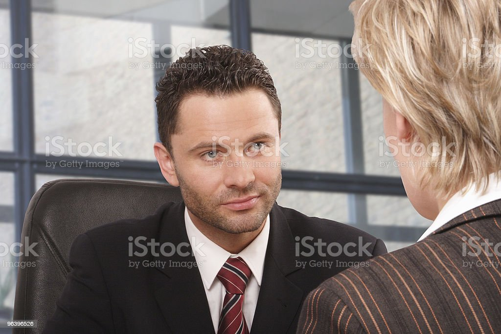 White business man and woman talk 2 royalty-free stock photo
