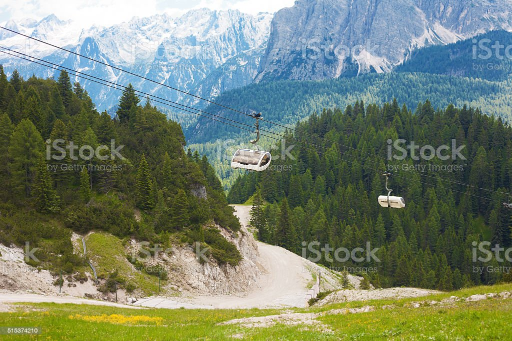 White cable car stock photo