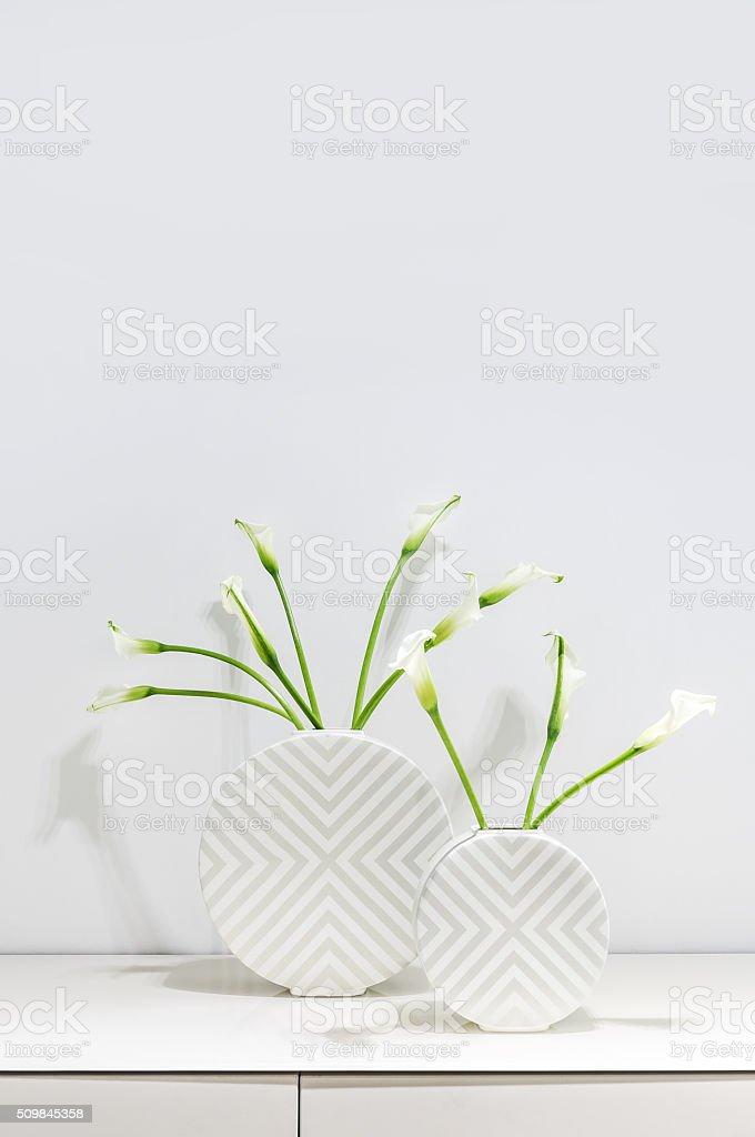 White Calla Lilies stock photo