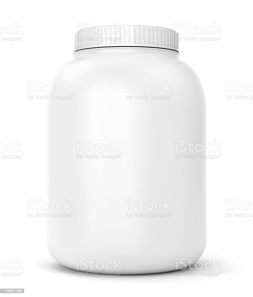 White can for sport supplements stock photo