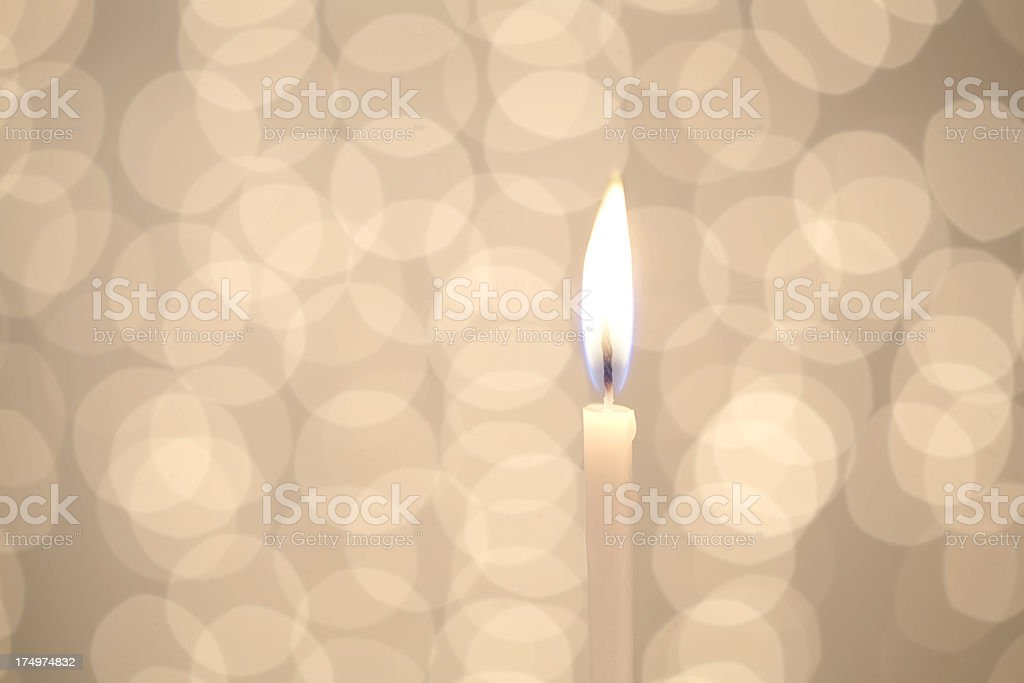 White Candle Blue Flame stock photo