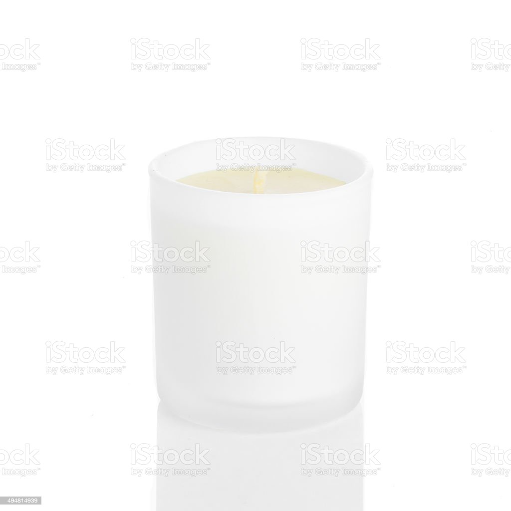 White candle side view 20 degree stock photo