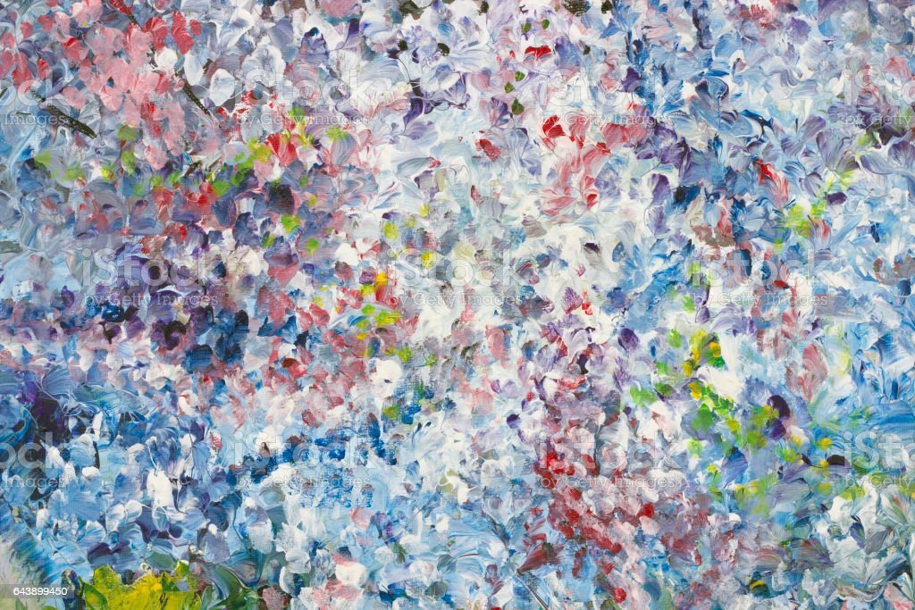 White canvas is grounded by no name abstract colored spots of acrylic paint stock photo