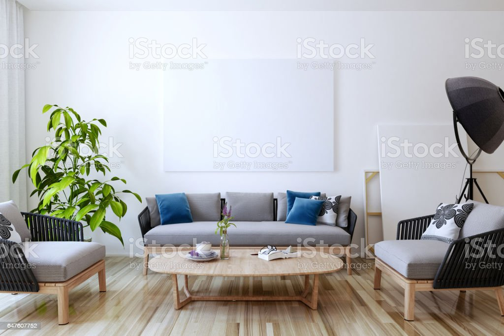 White canvas on the wall in the living room stock photo