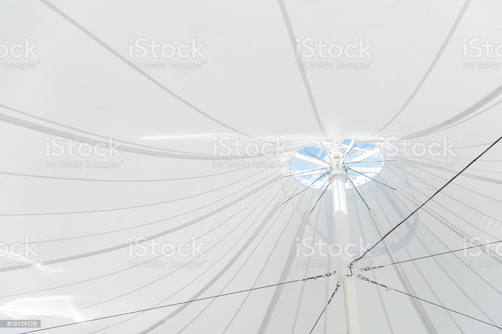 White Canvas Roof Tents stock photo