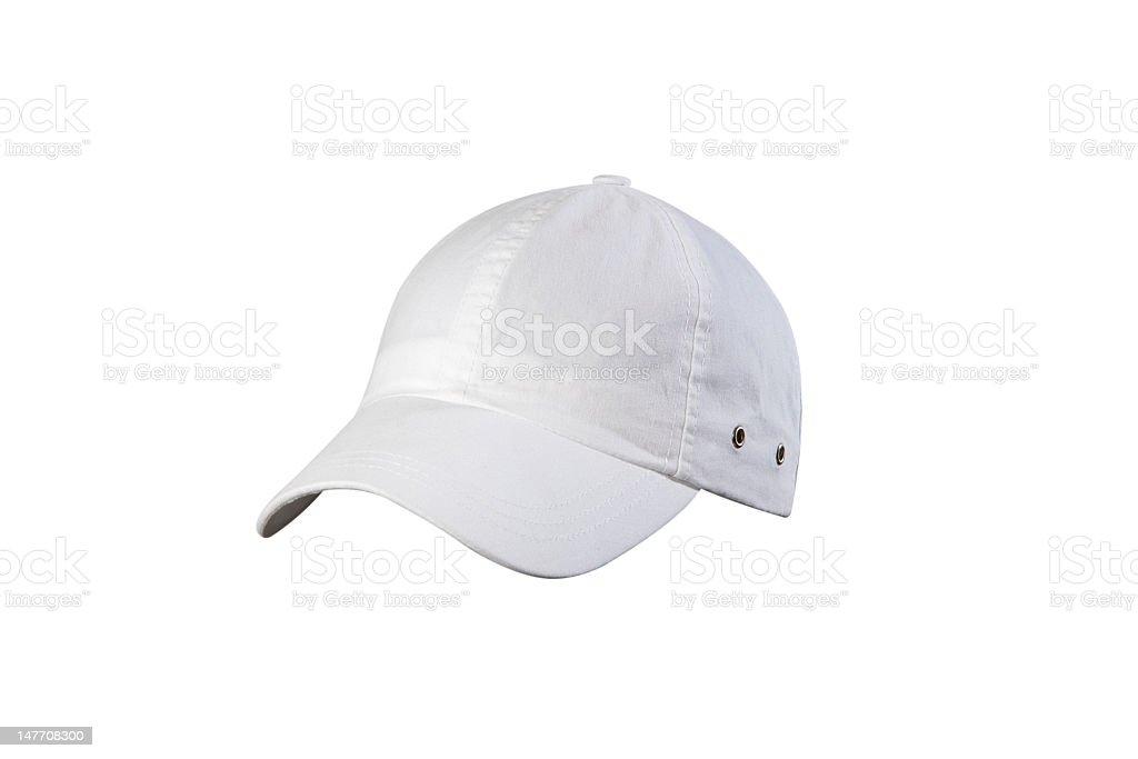 White cap isolated on white background stock photo