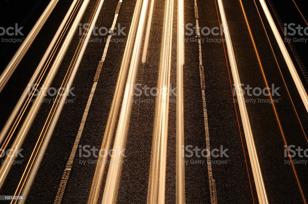 White Car Light Trails royalty-free stock photo