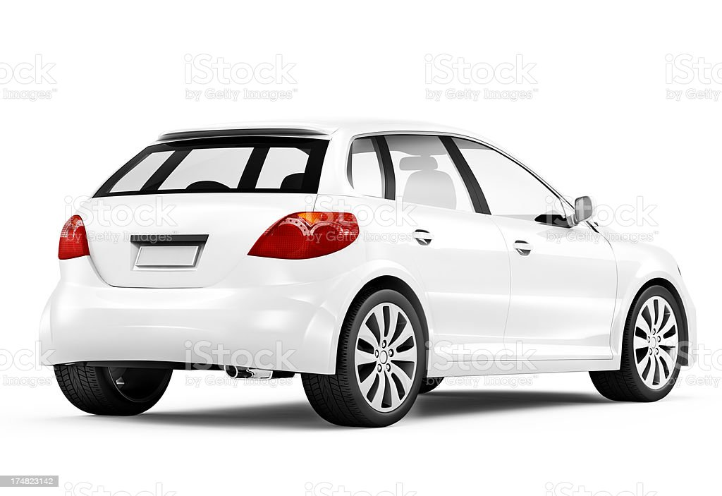 A white car with black tires on a white background stock photo