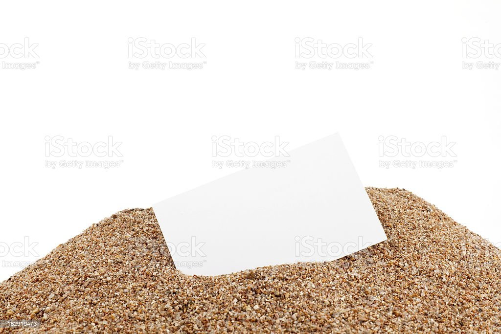 White card in the sand royalty-free stock photo
