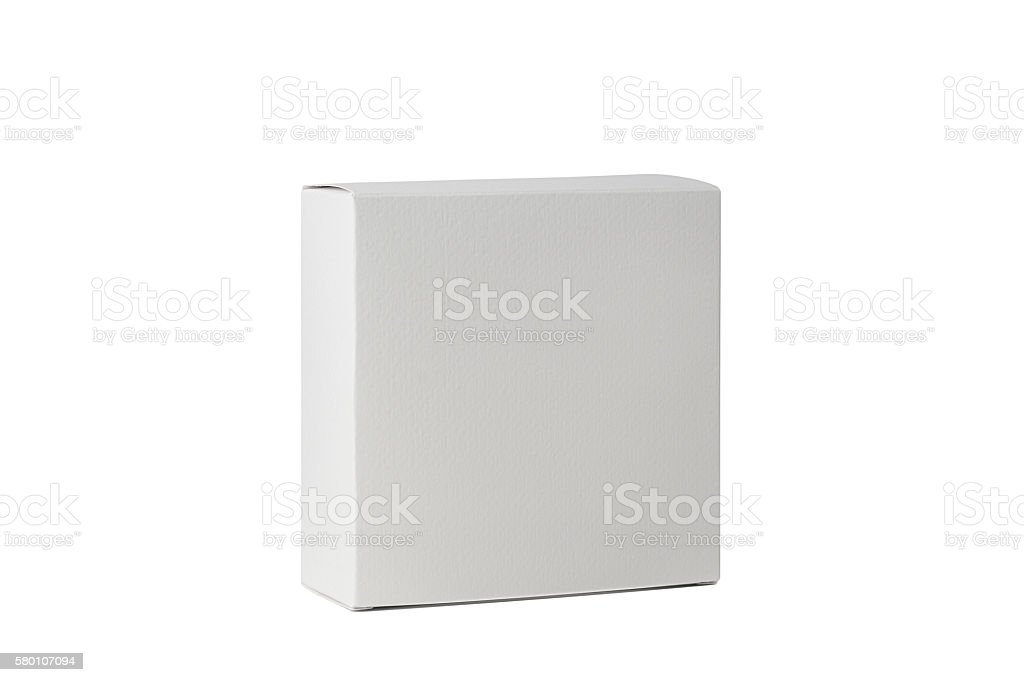 White cardboard box front view isolated on white background stock photo