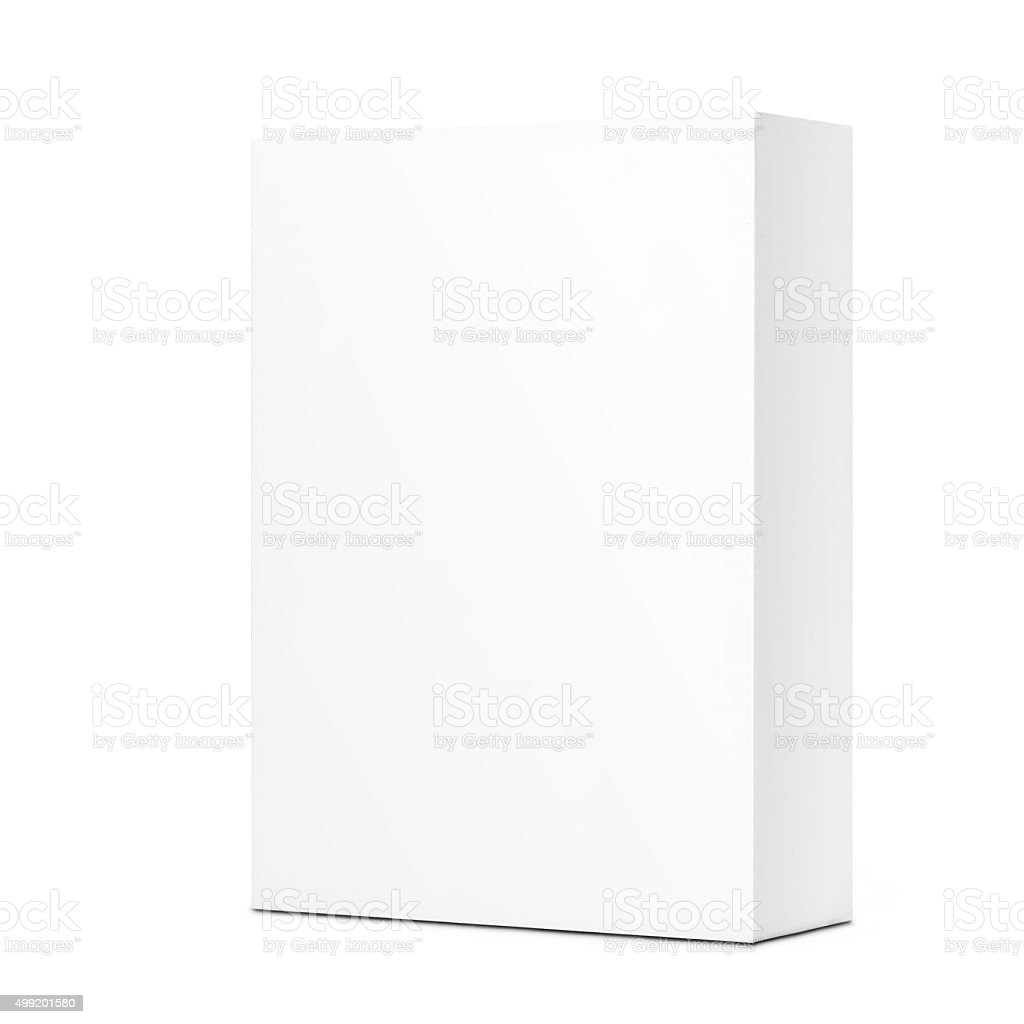 White cardboard box isolated on a White background stock photo