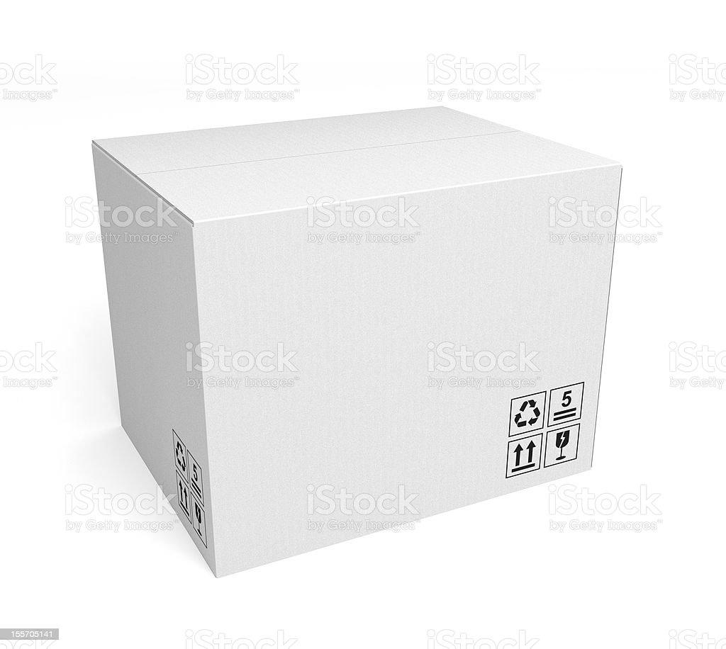 White cardboard box on white background royalty-free stock photo