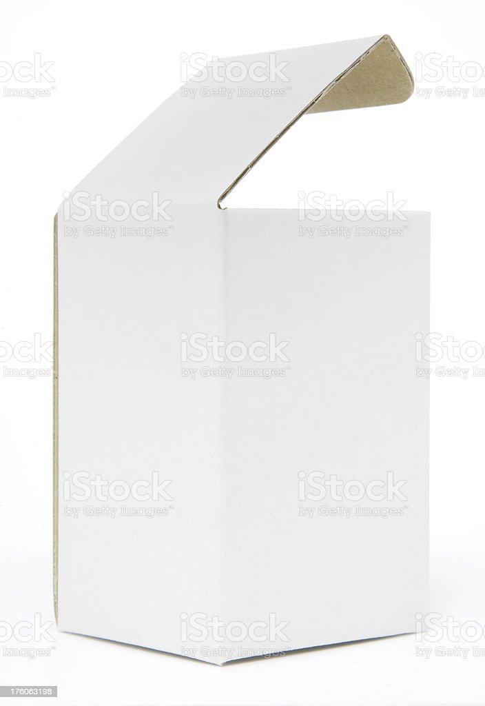 White cardboard box with open lid stock photo