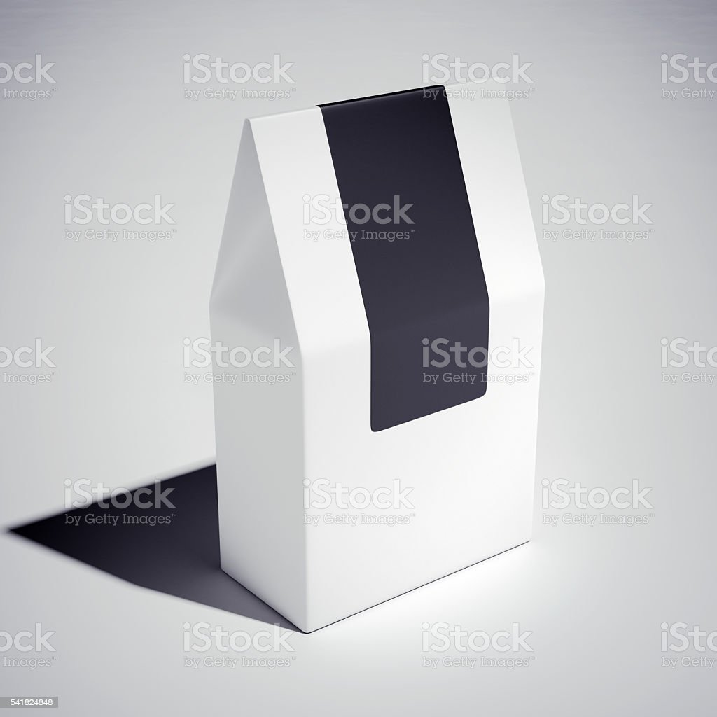 White cardboard carry box. 3d rendering stock photo