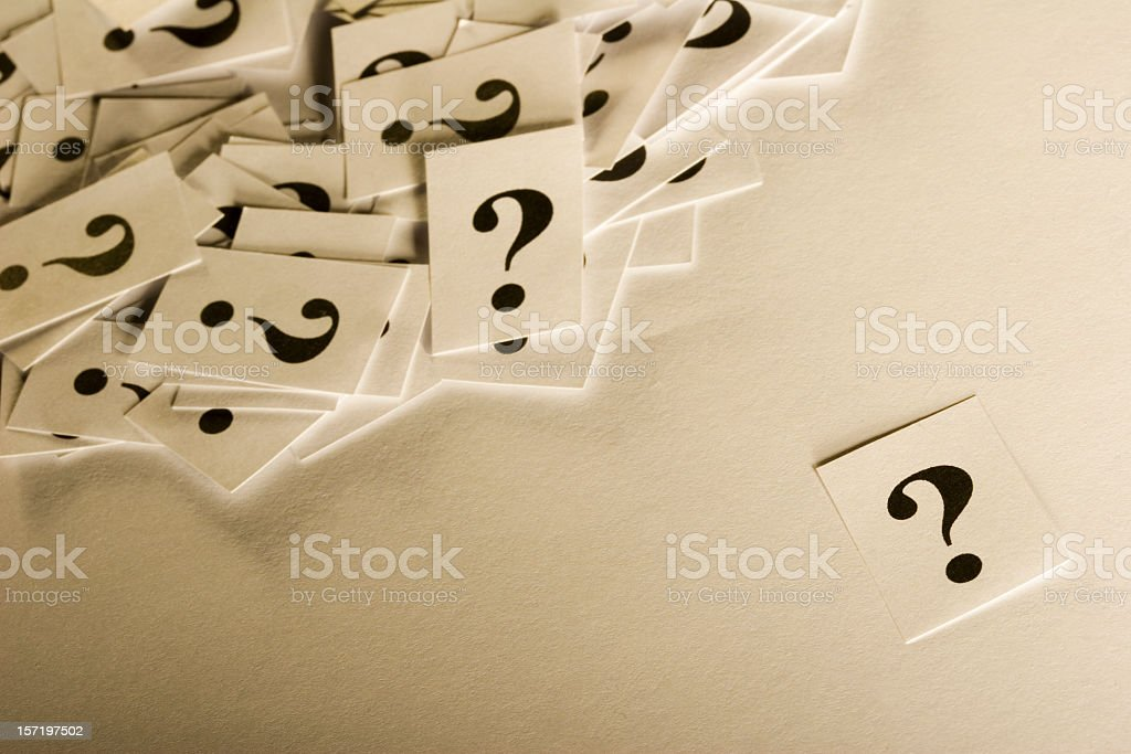 White cards with black question marks royalty-free stock photo