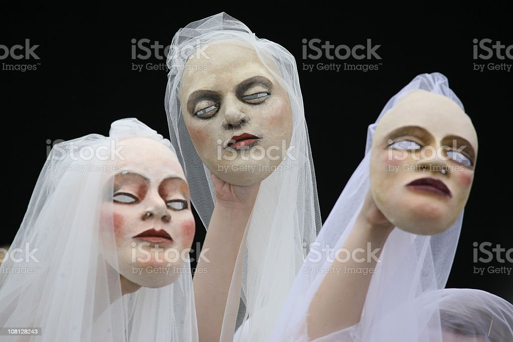 White Carnival Masks royalty-free stock photo