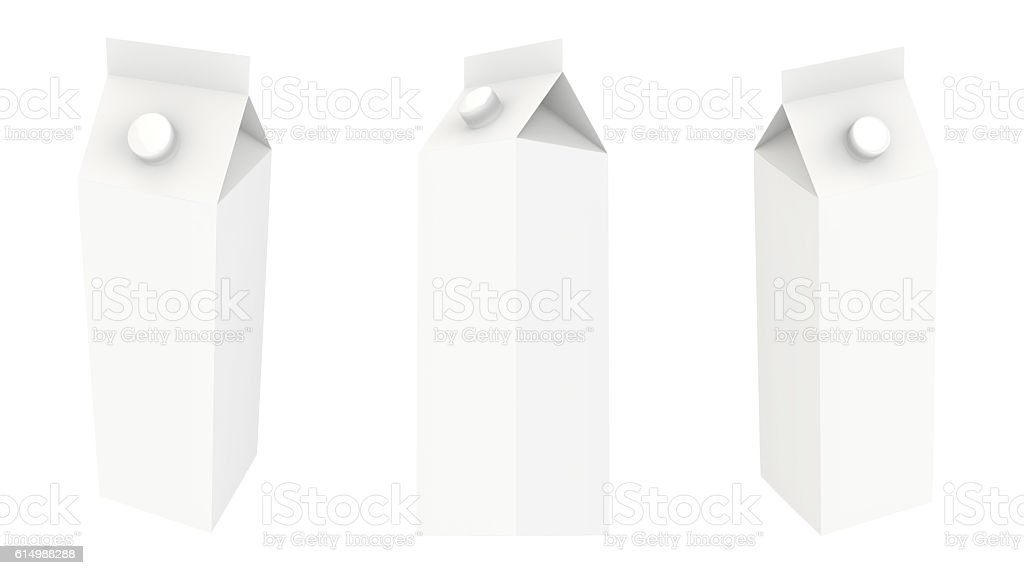 White carton package template for juice or dairy product stock photo